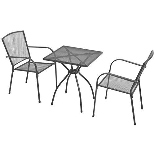Festnight 3 teilige Gartentisch Bistroset Gartenmöbel im für Balkon/Terrasse - Bistro-Set Stahlgewebe - 2 Stück Metall-stuhl