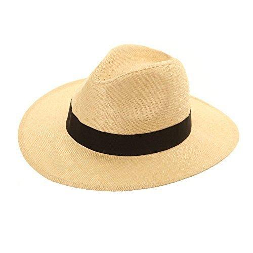 Hawkins Unisex Fedora Panama Trilby Hut mit breitem Flügel und Flügel Schwarz Band größeren Klappstrohhalm Sommer, Beige - Beige - Größe: 60 -