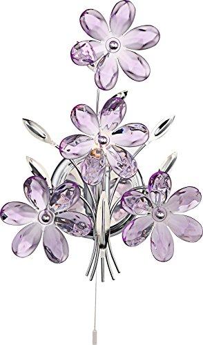 Applique chrome, feuilles acrylique lilas, interruptuer, LxLxH:235x130x330, excl. 1xE14 40W 230V
