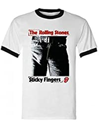 THE ROLLING STONES - STICKY FINGERS - HOMMES OFFICIEL RINGER T-SHIRT