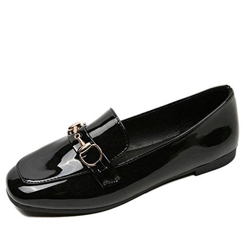 TAOFFEN Damen Gemutlich Schlupfschuhe Flach Pumps School Dress Shoes Schwarz