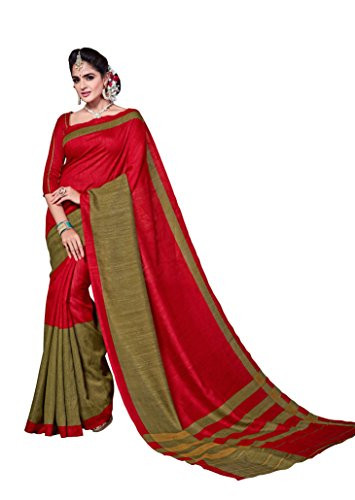 Maxis Jute Saree (S9000_4394_Red_Red)