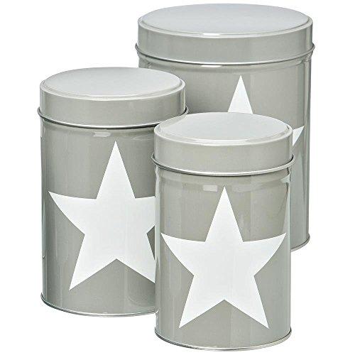 Vorratsdose Star, Keksdose mit Stern, 3 Stück in verschiedenen Größen, grau, zum Aufbeawahren von Keksen und anderen Lebensmitteln