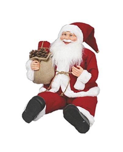 Viscio trading casa & christmas babbo natale seduto con sacco doni yuta, tessuto, bianco/rosso, 0.13 x 0.13 x 0.15 cm