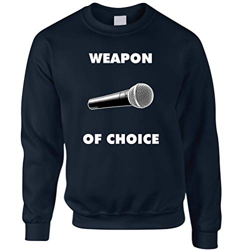 (Tim And Ted Neuheit Musik Unisex-Pullover Waffe der Wahl Mikrofon Navy Large)
