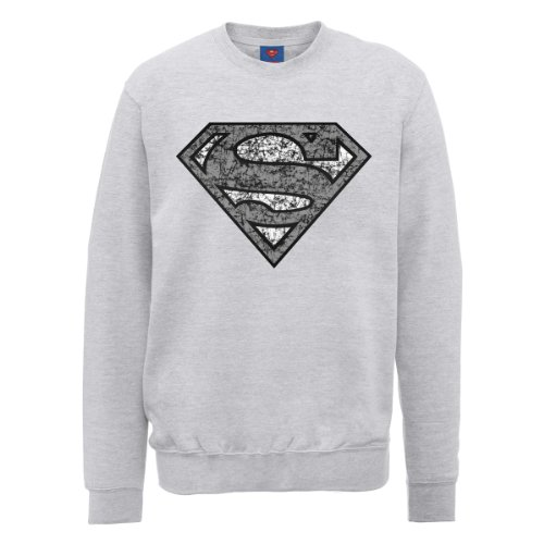 DC Comics Herren, Sweatshirt, DC0000866 Official Superman Distressed Logo Grau