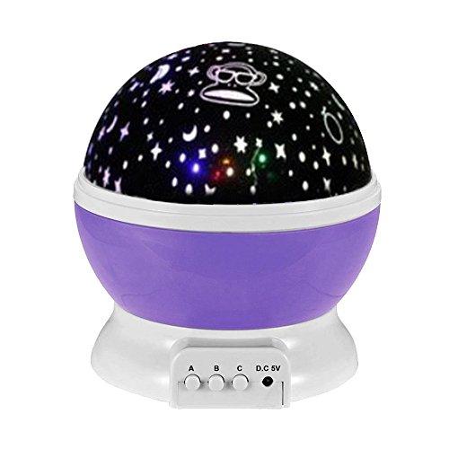 eizur 360° LED Projektor Rotation Lampe 3Modi Tisch Nachtlicht Projektion Powered USB oder Akkus für Baby Home Decro Kinder Zimmer und Nursery Violet Paul Frank