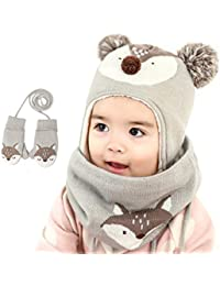 zyl Casquillo De Los Niños del Invierno Sombrero Hecho Punto del Bebé Casquillo del Oído Sombrero del Bebé/Bufanda / Manopla Sistema De Tres Piezas