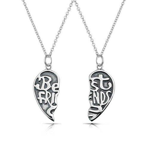 Bling Jewelry mejores amigos para siempre Colgante corazón dividido Sterling Silver Necklace Set de 16 pulgadas