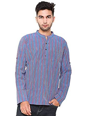 EASY 2 WEAR ® Men Checks Chinese Collar Kurta/Shirt Plus Size - Foldable Sleeves (S to 5XL) Comfort/Regular FIT