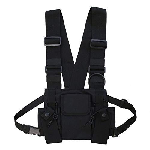 Yalatan Tactical Chest Rig Bag, Radio Walkie Talkie Brusttasche herren, Hip Hop Streetwear Taschen-Pack Rucksack, Funktionelles Harness Chest Rig Pack