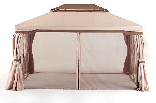 Salmar Zypern Pavillon 3x 4mit Moskitonetz Gestell aluminium Tuch Ecru 250Gramm