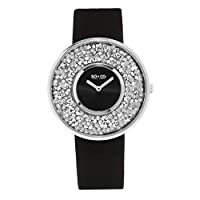So & Co New York Women's Quartz Watch With Black Dial Analogue Display and Black Leather Strap 5223.3