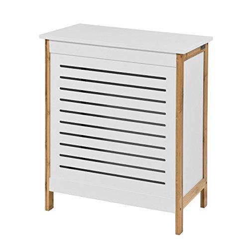 SoBuy® FSS66-WN Wäschetruhe,Wäschekorb,Wäschebox,Wäschesammler Wäschetonne, mit Deckel, Weiß+Natur