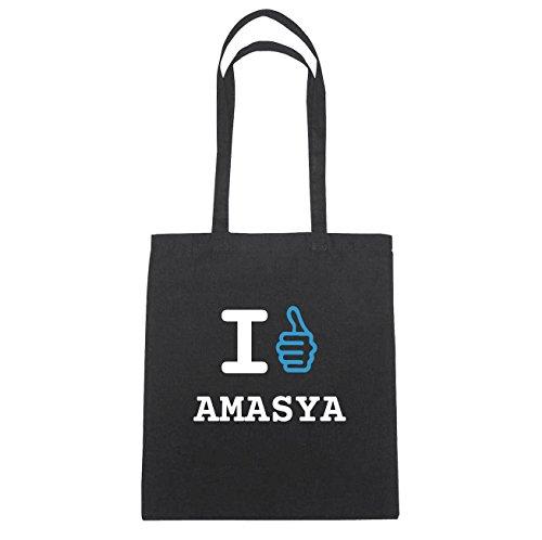 JOllify Amasya Borsa di cotone B2822 schwarz: New York, London, Paris, Tokyo schwarz: I like - Ich mag