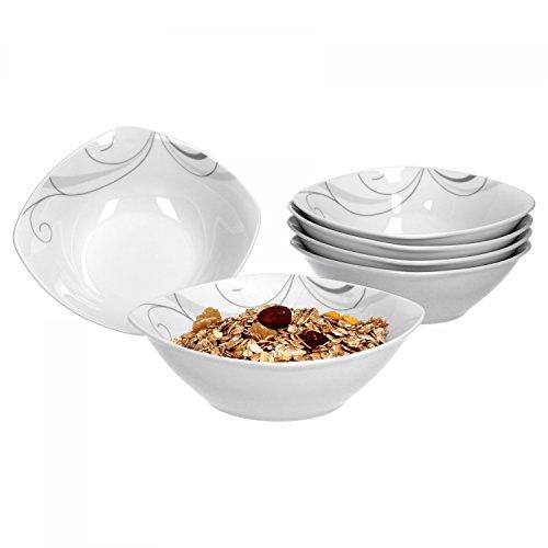 Van Well Portofino Lot de 6 Bol à céréales, bol à soupe Petit Bol, Ø 14,3 cm, 300 ml, ranke Décor, élégant Porcelaine de Marques