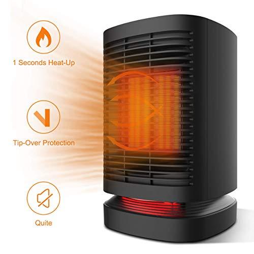 Douhe termoventilatore da bagno, stufa elettrica basso consumo, mini termoventilatore ceramica 950w 220-240v 3 livelli di temperatura 90 ° auto-oscillante, silenzioso 42 decibel da bagno camera