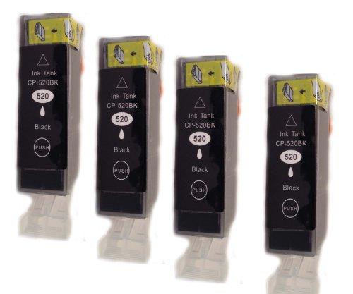 4 Canon PGI-520. *. *. Schwarz *.*. Kompatiblen Tinten für CANON PIXMA MP620. *. *.PREMIUM QUALITÄT.*.*.Dye-Tinte aus DEUTSCHLAND.*.*.neueste Version APEX-Chips.*.*.