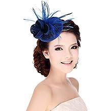 MARRYME Tocados de Pelo Fiesta Boda Mujer Sombrero con Plumas Diadema Flores Azul Oscuro