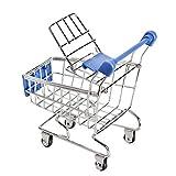 Zantec Mini Supermarkt Handcart Einkaufen Utility Cart Mode Schreibtisch Speicher Spielzeug, dunkelblau