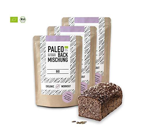 Organic Workout PALEO-BACKMISCHUNG 3er Pack | Bio | gluten-frei | lower-carb | Eiweiss-Brot-Alternative | clean-eating | Fitness-Brot-Alternative | hefefrei | ohne Getreide | hergestellt in Deutschland