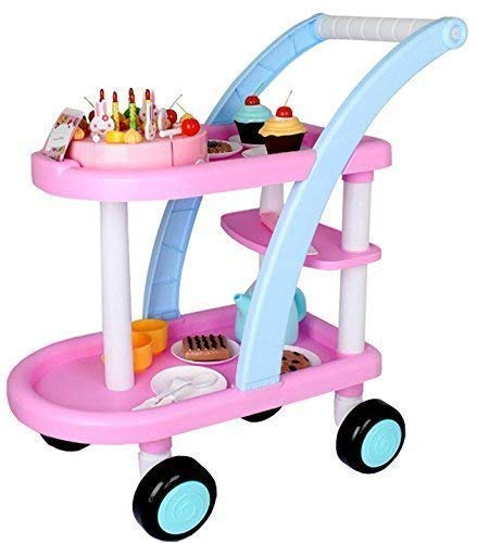 Kids Tea & Cake Trolley Cart with Musical Birthday Party Cake Pretend Roleplay Toy