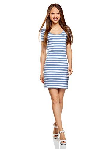 oodji Ultra Damen Enges Jersey-Kleid, Blau, DE 36 / EU 38 / S (Baumwoll-jersey-jacke)
