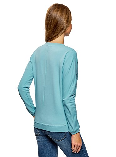 oodji Ultra Damen Sweatshirt mit Druck Türkis (7343P)