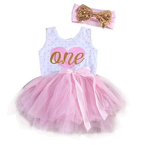 Chennie 2 stücke Kinder Baby Mädchen Sommer Rosa Tutu Kleider Bogen Stirnband Sommerkleid (Color : White+Pink, Size : 4-5T)
