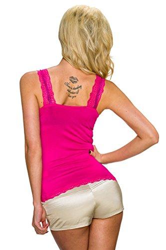 Fashion - Canotta - Basic -  donna Rosa - Rosa bonbon
