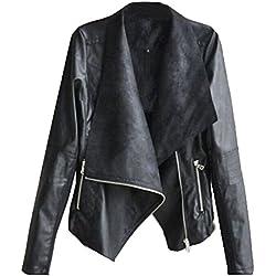 SODIAL (R) Moda vendimia de las mujeres delgado para la motorista de la motocicleta de la PU de cuero suave capa de la cremallera de la chaqueta Negro - M