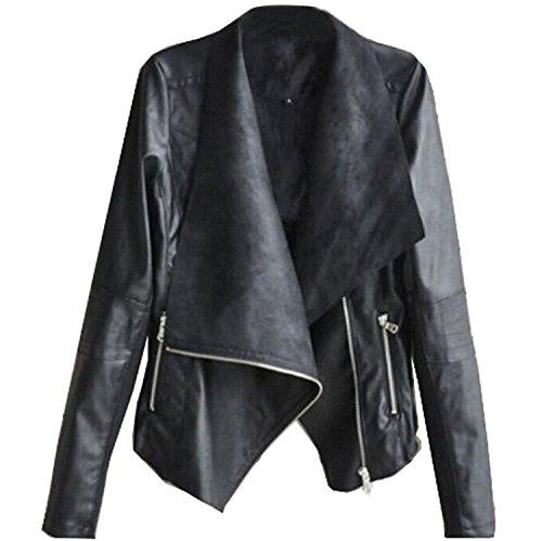 SODIAL (R) Moda Vintage Donna Cappotto Giacca Moto Snello In Pelle PU morbido Con Cerniera Nero S