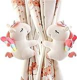 SHDZKJ 1 Paire de Boucles de Rideau Licorne en Peluche, Jouets, Dessin animé, Support de Rideau pour Filles, Enfants, décoration de fenêtre Blanc