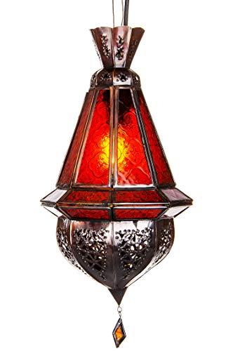 Orientalische Lampe Pendelleuchte Rot Moulay 45cm E27 Lampenfassung   Marokkanische Design Hängeleuchte Leuchte aus Marokko   Orient Lampen für Wohnzimmer Küche oder Hängend über den Esstisch