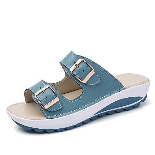Sandali zeppa donna pantofole fibbia ciabatte piattaforma 4cm estivi spiaggia scarpe ecopelle sandals fondo spesso slippers punta aperta blu 38