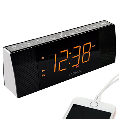 iTOMA Alarm Clock Radio with Bluetooth Speakers,Digital FM Radio,2 Alarm Clock with Snooze, USB Charging Port, Auto and Manual Dimmer, Auxiliary Input, Backup Battery (CKS503BT)