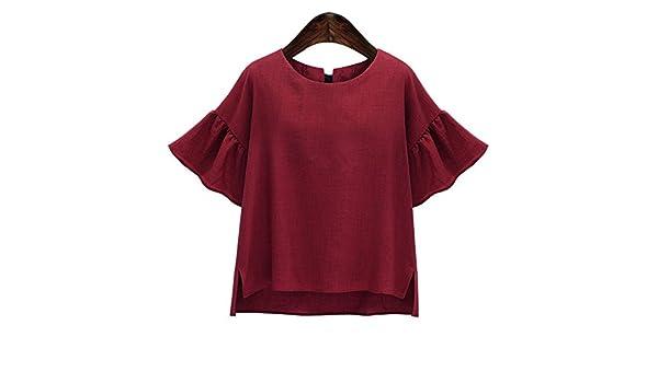 T Manches Top Shirt Grande Femme Courtes Oudan Chic Evasé Blouse H9W2DIE