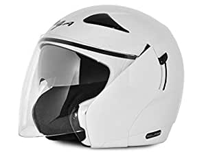 Vega Eclipse ECL-W-M Open Face Helmet with Double Visor (White, M)