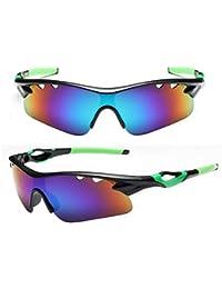 NERB Gafas de Ciclo al Aire Libre Fresco de Moda, Gafas de Sol Lentes a Prueba de explosiones, Deportes Casuales Gafas de Montar antiarañazas (Color : Green)