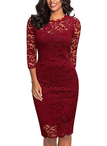 Miusol Damen Vintage Etuikleid 3/4 Arm Spitzenkleid Cocktailkleid Rundhals festliches Partykleid Rot...