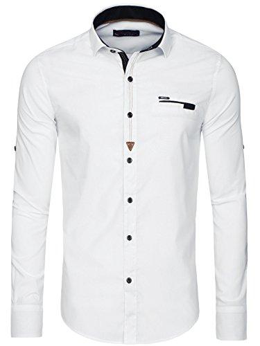 OZONEE Herren Klassisch Hemd Freizeithemd Langarm Shirt Casual Slim Fit RAW LUCCI 796 Weiß_RL-790