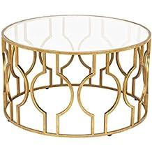 CB Gehärtetem Glas Couchtisch, Nordic Style Wohnzimmer Dekoration Runden  Tisch Goldene Eisen Kunst Verhandlungstisch Casual