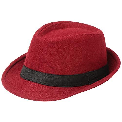 Coucoland Panama Hut Mafia Gangster Herren Fedora Trilby Bogart Hut Herren 1920s Gatsby Kostüm Accessoires (Filz Weinrot)