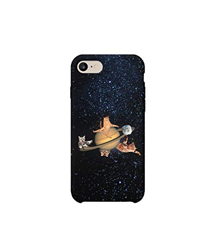 GlamourLab NASA Alien Cats In Space Planet Protective Case Cover Hard Plastic Handyhülle Schutz Hülle for iPhone 7 Gift Christmas Cat Hard Case