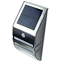 Liqoo Applique Solaire avec Détecteur de Mouvement et 2 LEDs Lumière Blanc Chaud Sans Fil Lampe Etanche pour Eclairage Extérieur comme Patio, Pont, Jardin, Allée, Garage