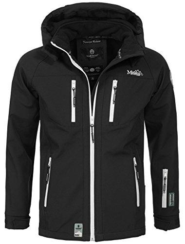 Marikoo Herren Softshell Funktions Outdoor Ski Regen Winter Jacke Sport B630 [B630-Noa-Schwarz-Gr.L]