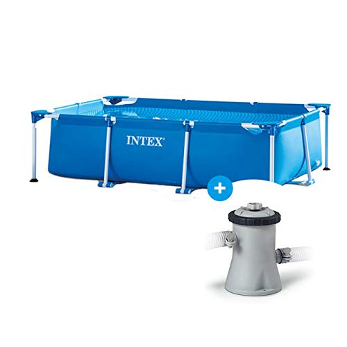 RAVIDAY Pack Piscine Tubulaire Intex Metal Frame Junior 2.20 x 1.50 x 0.60 m + Filtre épurateur à Cartouche
