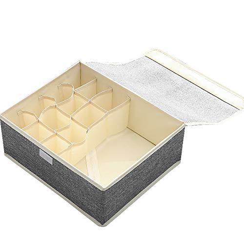 TLfyajJ Multi-Slot-BH Unterwäsche Socken Kleidung Falten Aufbewahrungsbox Organizer Box Container- die ideale Aufbewahrungsbox für Wäsche, Gürtel, Accessoires etc Dunkelgrau -