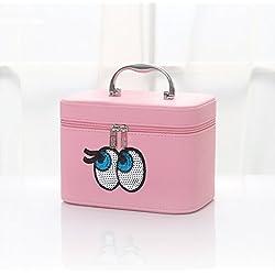 Jh Cosméticos Organizador Caja Joyero Joyas Aretes Dijes Anillo de la Pulsera Joyería Caja de Almacenamiento joyero y cosméticos Organizador para cosméticos (Color : Pink, Size : 20 * 16 * 15cm)