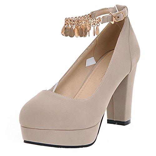 AIYOUMEI Damen Geschlossen Plateau Pumps mit Riemchen Blockabsatz High Heels Elegant Schuhe Aprikose